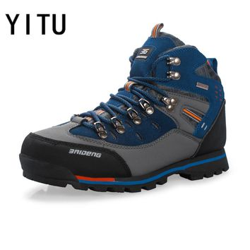 YITU Mens Hiking Boots Waterproof Mountain Trekking Shoes Breathable Hiking shoes Leather Outdoor Sports Sneaker Hunting Shoes