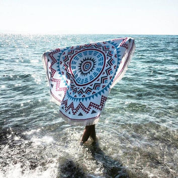 Round Hippie Tapestry Beach Throw Roundie Mandala Towel Yoga Mat Bohemian at1