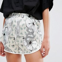 Monki Floral Safari Sateen Shorts at asos.com