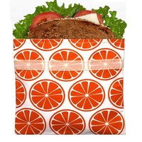 Reusable Velcro Sandwich Bag, Tangerine Orange6.5 x 6.5 inches