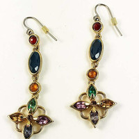 Multicolor Long  Dangle Earrings Floral Motif Gold Tone Vintage