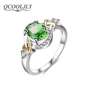 QCOOLJLY Silver Color Rings Elegant Crystal Statement Ring anillos mujer Love For Women Luxury Engagement Ring Jewelry