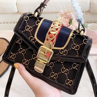 GUCCI New fashion more letter leather velvet shoulder bag handbag women Black