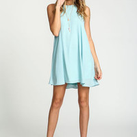Aqua Back Keyhole Chiffon Dress - LoveCulture