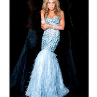 Jasz Couture 2014 Prom Dresses - Strapless Blue Rhinestoned Mermaid Gown