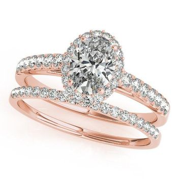 Karas Oval Moissanite Catheral Halo Engagement Ring