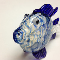 Glass pipe -fish chillum blue wrap and rake, fumed