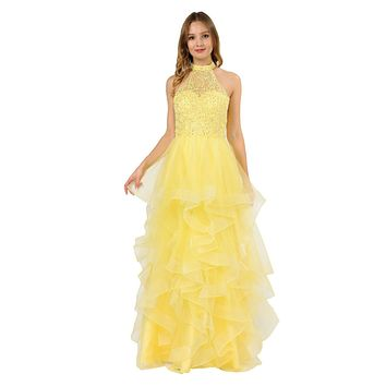 Halter Tiered Long Prom Dress Yellow