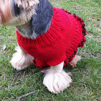 Red Dog West  Hand Knit Dog Clothes Puppy Sweater 100% Handmade Ready To Ship