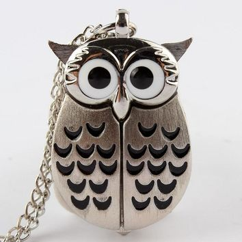 Unique Owl With Active Wings Design Pocket Watch Owl Necklace Pendant Chain Steampunk Men Women Gifts Relogio De Bolso