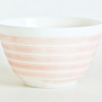 "Vintage Pyrex ""Rainbow Stripes"" Pink Stripe Mixing Bowl, Small 401 Nesting Bowl Prep Bowl, Faded"