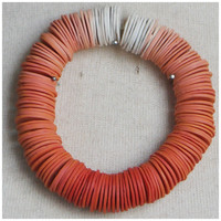 White to Orange Ombre Disc Bead Bracelet - Thin Handmade Polymer Clay Heishi Disc Beads on an Elastic Cord