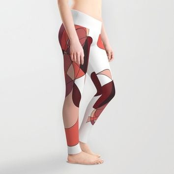 Abstract 2 (white) Leggings by DuckyB (Brandi)