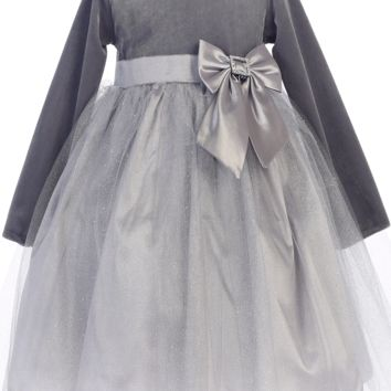 (Sale) Size 2T Silver Long Sleeve Velvet & Glitter Tulle Girls Holiday Dress
