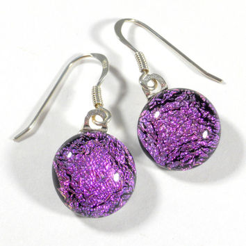 Sparkling Pink Dichroic Glass Dangle Earrings, Sterling Silver Hooks