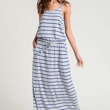 Casual Striped Maxi Dress - Cobalt Blue