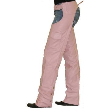 Pink Leather Ladies Chaps