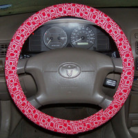 Red/White Geometric Steering Wheel Cover
