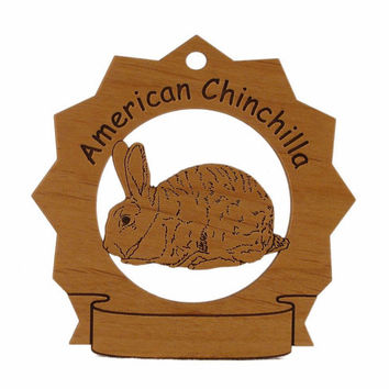 American Chinchilla Rabbit Personalized Wood Ornament