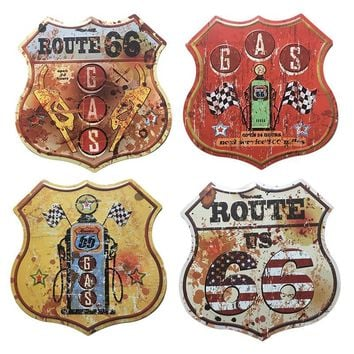 New Shaped Metal Tin Signs Gas Station US Route Retro Wall Decor Poster Bar Pub Garage Plaques Art Craft Signposts 30x30cm