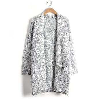 2017 Autumn and Winter Sweaters Women Deep V Neck Loose Gray Cotton Knitted Cardigan Jackets Female Sweater Coat Plus Size S-5XL