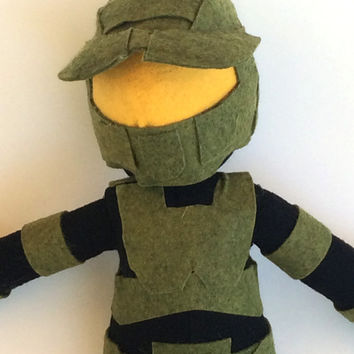Master Chief, Halo inspired plush toy, felt doll, Geek, Game Inspired