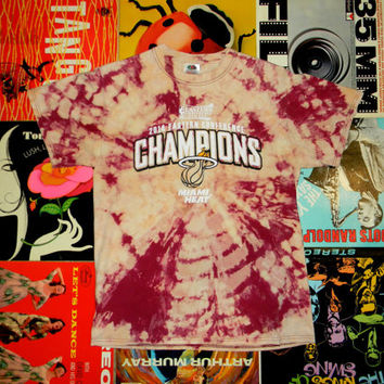 Handmade Bleach Tie Dye T Shirt - OOAK Miami Heat Tie Dyed TShirt. Womens M. Mens S. NBA Fan Gear. 2014 Eastern Conference Champions. Finals