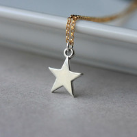 Star Necklace, Sterling Silver Star Necklace, Gold Fill Chain Necklace, Mixed Metal Jewelry, Celestial Constellation