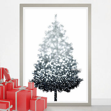 "Christmas tree alternative, silver Christmas tree print, large printable poster, 20x30"" printable decor, diy christmas tree pinboard. cta004"