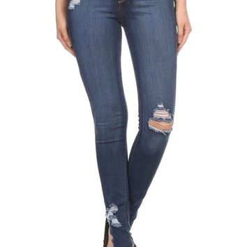 Encore Plus Size High Rise Distressed Skinny Jeans