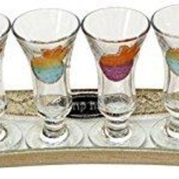 Cheers Collection Liquor Set with 6 Glasses And Tray Pomegranate - Rainbow - Tray 15 inch  X 3.5 inch  - Cup 3.75 inch H