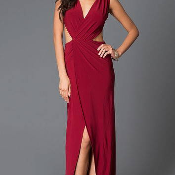 Mock Two Piece Long Burgundy Red Dress