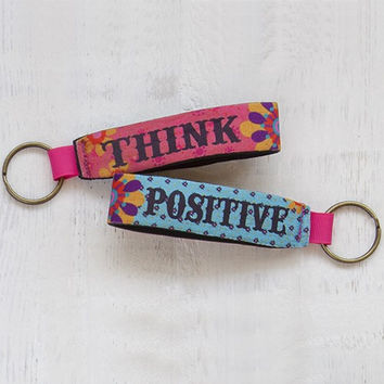 Think Positive Neoprene Key Fob By Natural Life
