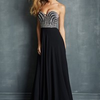 Night Moves 7041 Strapless Chiffon Prom Gown