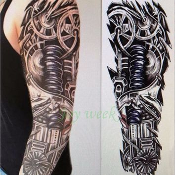 Waterproof Temporary Tattoo Sticker full arm large size robot arm tatto flash tatoo fake tattoos sleeve for men women 27