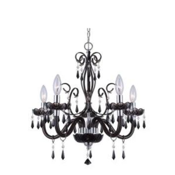 CANARM, Bella 5-Light Black Chandelier with Acrylic Jewels, 88130/5-BK at The Home Depot - Mobile