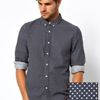ASOS Brushed Shirt In Long Sleeve With Polka Dot