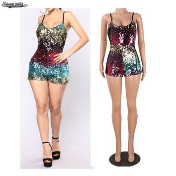VONE05F8 Womens bling sequins playsuit Elegant suspenders colored beads zipper one piece pants dinner party bodysuit 1