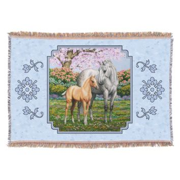 Quarter Horse Mare and Foal Blue Throw Blanket