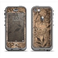 The Brown Aged Floral Pattern Apple iPhone 5c LifeProof Nuud Case Skin Set