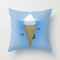 Hidden part of icebergs Throw Pillow by Naolito