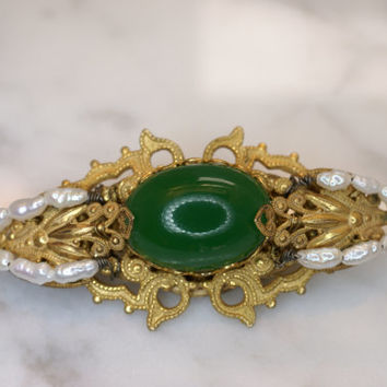 Miriam Haskell Yellow Gold Tone, Green Glass, and Pearl Pin