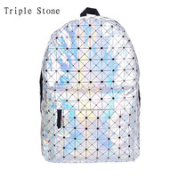 Triple Stone Stylish Backpack Women Silver Hologram Laser Backpack Men's Bag leather Holographic Multicolor Geometric Backpack