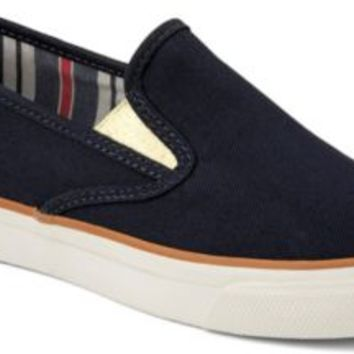 Sperry Top-Sider Mariner Double Gore Slip-On Sneaker NavyCanvas/Gold, Size 9M  Women's Shoes