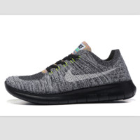 Nike free RN flynit running sneakers Sport Casual Shoes Sneakers Grey black soles