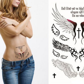 Sexy Angel Wings Flash Tattoo Back Sticker  Waterproof Quality Product Henna Temporary Tatoo Body Art Wall Sticker