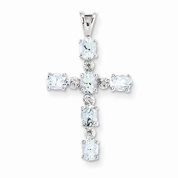 Sterling Silver Rhodium Plated Diamond & Aquamarine Cross Pendant