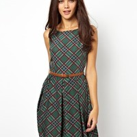 Glamorous Skater Dress in Tartan at asos.com