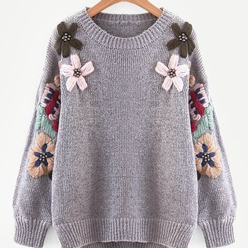 Wool Flower & Beaded Slit Side Sweater
