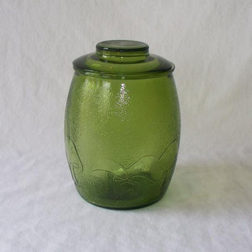 Vintage Green Glass Cookie Jar Mushrooms by The2ndTimeAround